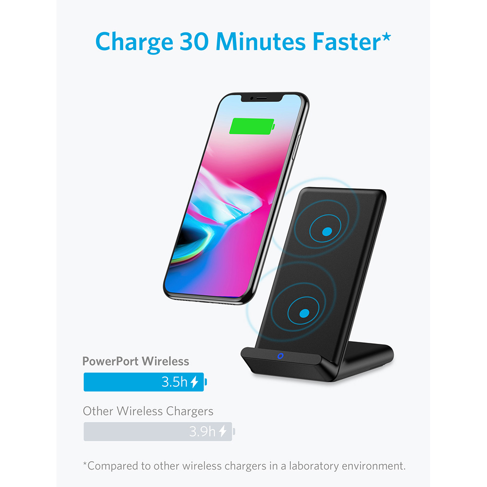 anker qi certified wireless charger for iphone x iphone 8. Black Bedroom Furniture Sets. Home Design Ideas