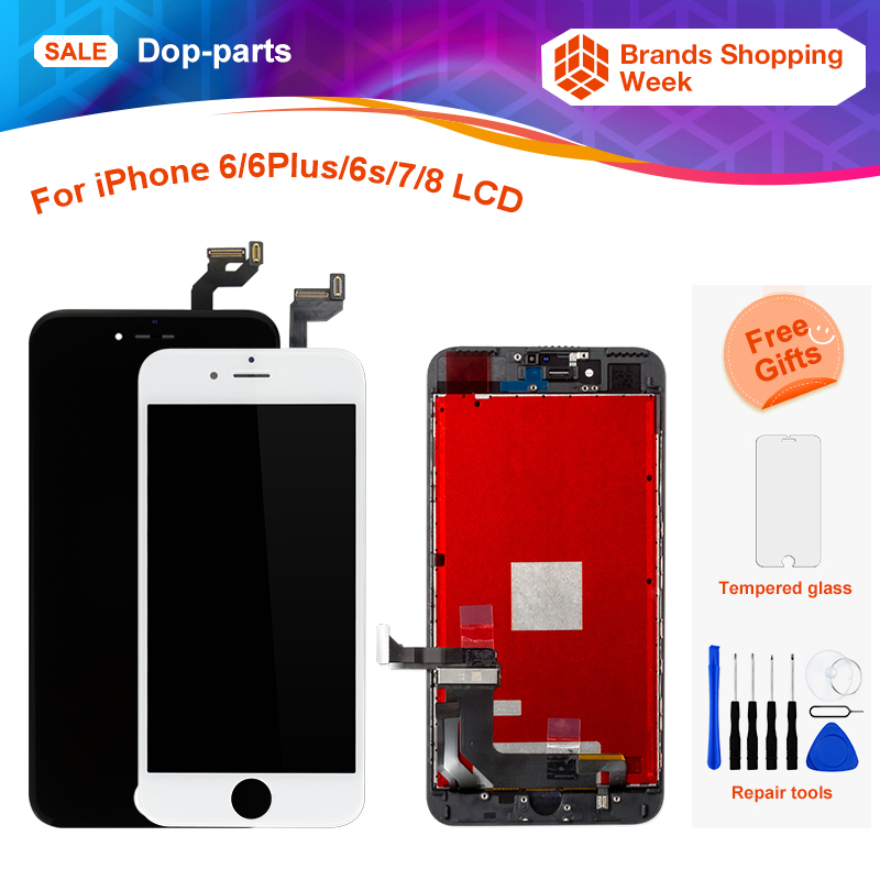 huge discount a35aa 80d8a For Apple iPhone 6 6 Plus 6s 7 8g LCD Display Touch Screen LCD Assembly  Digitizer Glass lcd Replacement+tools+tempered glass