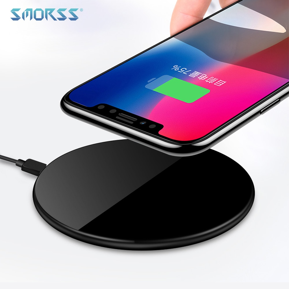official photos 98386 1cd37 SMORSS Qi Wireless Fast Charger 5V Ultra-light Wireless Charging Pad for  iPhone X 8 8 Plus for Samsung Galaxy S9/S8/S8+/S7/S6
